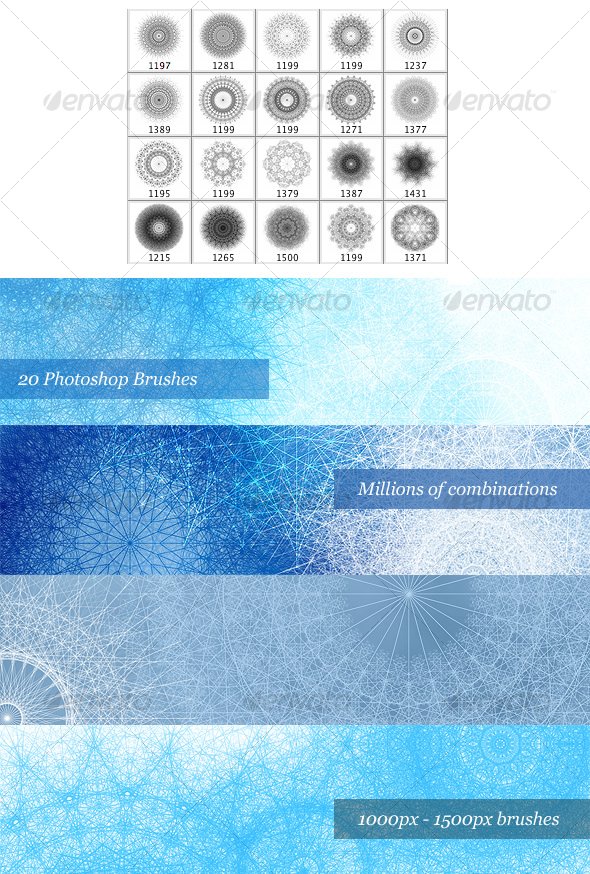 GraphicRiver Snowflake Brush Pack 20 Photoshop Brushes 29839