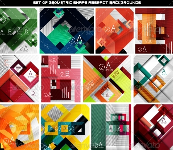 GraphicRiver Collection of Geometric Abstract Backgrounds 7009730