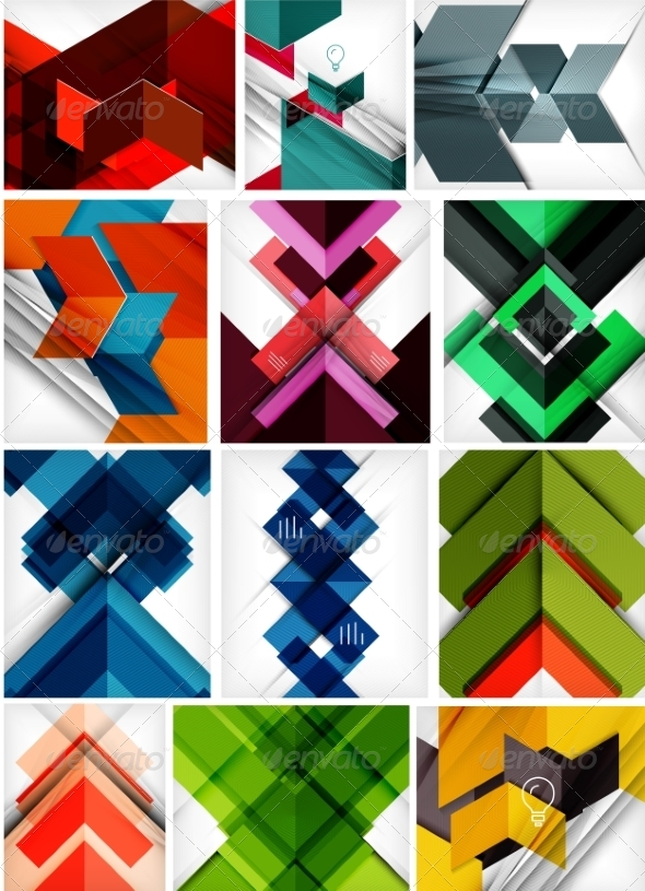 GraphicRiver Set of Paper Geometric Backgrounds 7009817