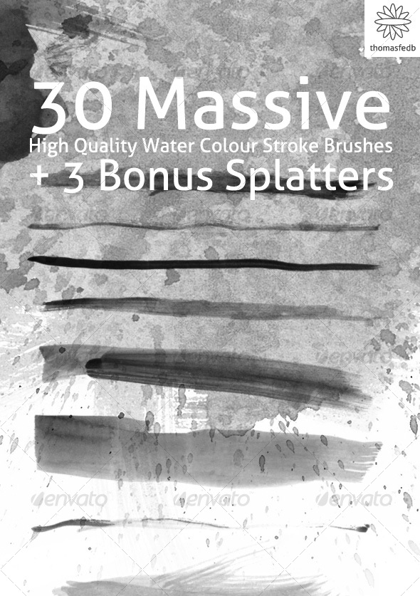 Set of 30 Massive Water Colour Brushes - Grunge Brushes