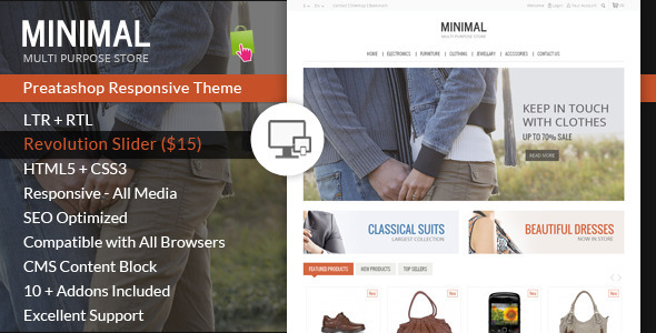 ThemeForest Minimal Multi Purpose Prestashop Theme 7010329