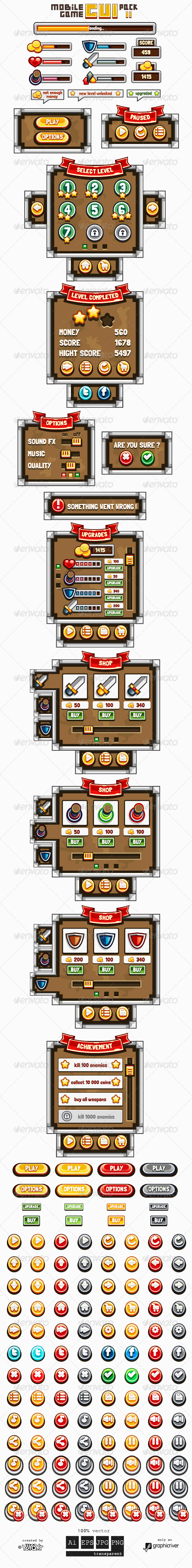 GraphicRiver Mobile Game GUI Pack 2 7010530