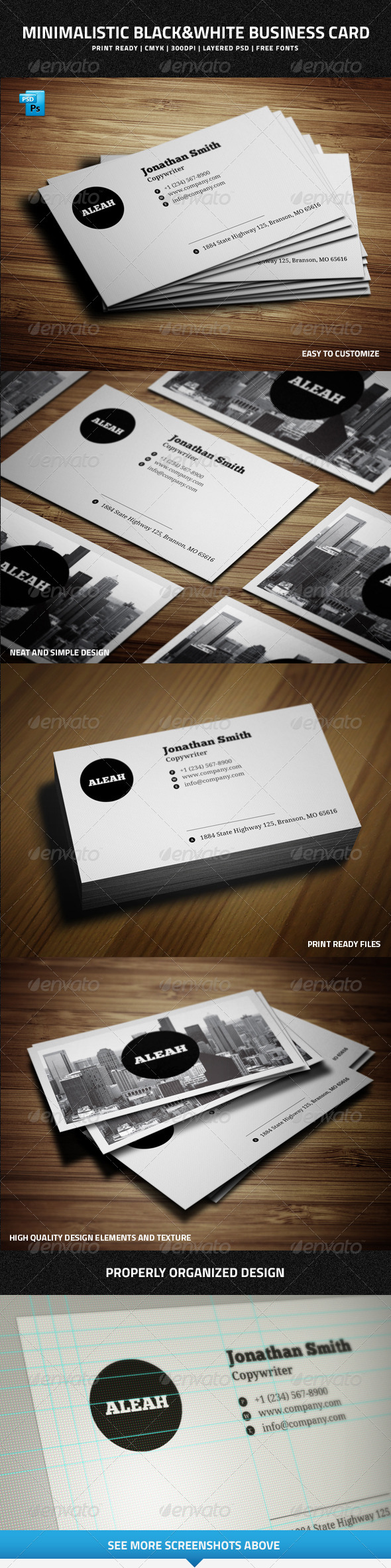 GraphicRiver Minimalistic Black&White Business Card 7010628