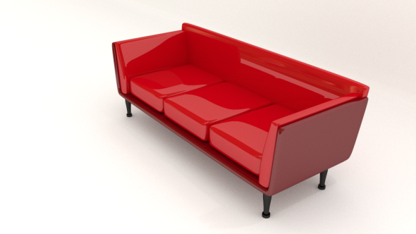 3DOcean Red Leather Sofa 7010849