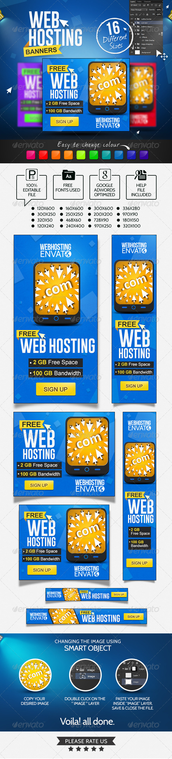 GraphicRiver Web Hosting Banners 7010920