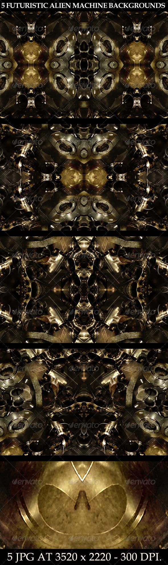 GraphicRiver 5 Futuristic Alien Machine Backgrounds 7011889