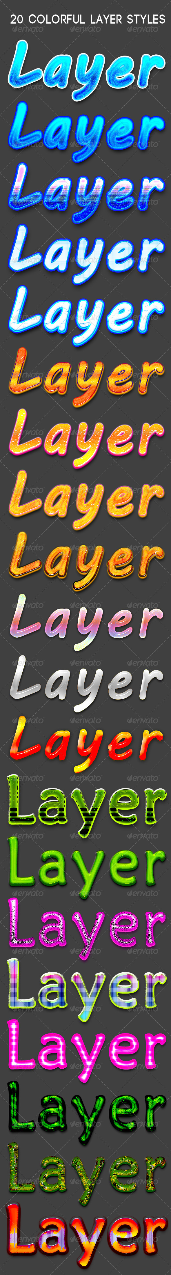 GraphicRiver 20 Colorful layer Styles 7012272