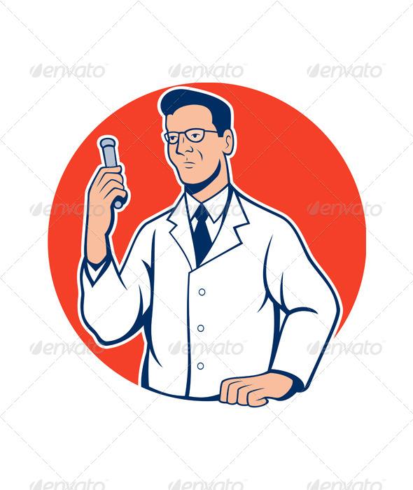 GraphicRiver Scientist Lab Researcher Chemist Cartoon 7014039