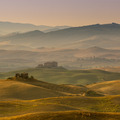 Tuscan Farmland with Villas and Villages at Dawn - PhotoDune Item for Sale
