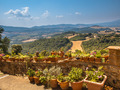 View over Tuscany Hilly Landscape with Pots of Flowers along the - PhotoDune Item for Sale