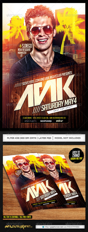 GraphicRiver EDM DJ Flyer Template PSD 7016140