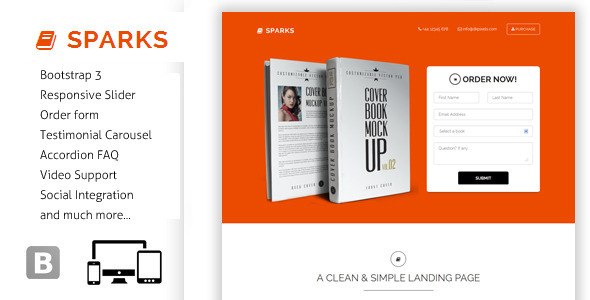 ThemeForest Sparks Responsive Bootstrap Landing Page 6968443