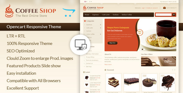 If you like our themes, please don't forget to rate it. This helps us a lot Template ID : OPC060144 Coffee Opencart Template is specially designed for co