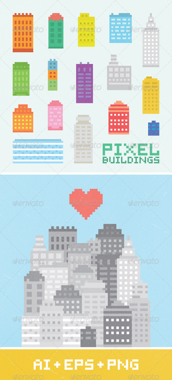 GraphicRiver Pixel Art City Set 1 7016965