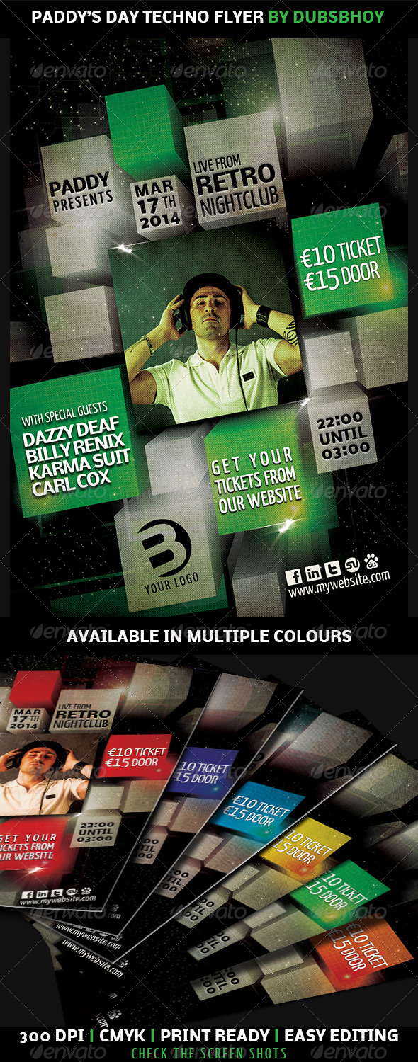 GraphicRiver Paddy s Day Techno Flyer 7017807