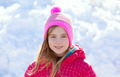 Blond kid girl winter hat in the snow smiling - PhotoDune Item for Sale