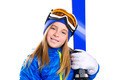 Kid girl ski with snow goggles and winter hat - PhotoDune Item for Sale