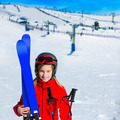 Kid girl winter snow with ski equipment - PhotoDune Item for Sale