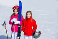 Kid girls sister in winter snow with ski equipment - PhotoDune Item for Sale