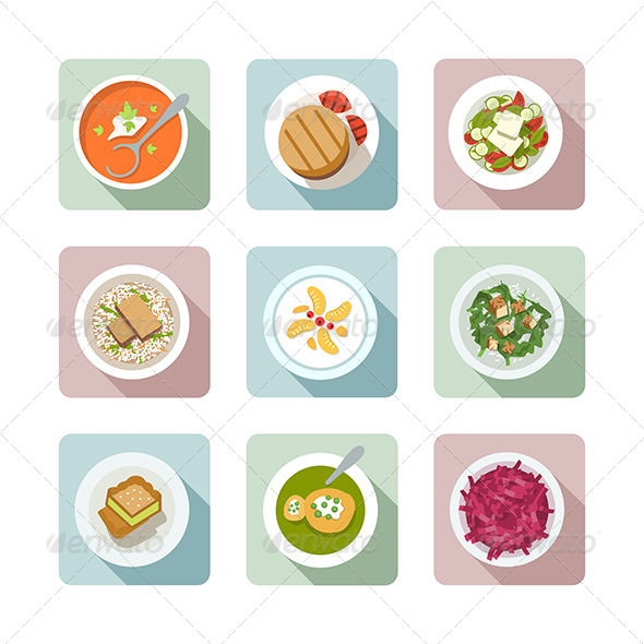 GraphicRiver Vegetarian Cuisine Flat Icons In Color 7017985