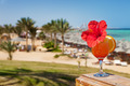 hibiscus and cocktail against tropical sea resort beach - PhotoDune Item for Sale