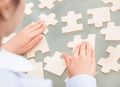 Businesswoman With Scattered Puzzle - PhotoDune Item for Sale