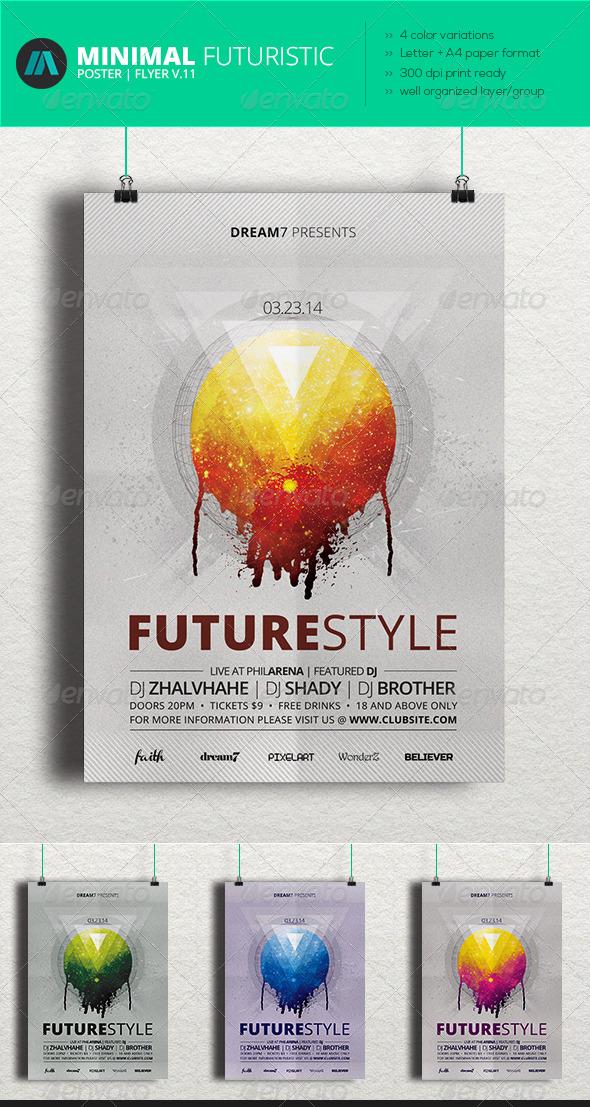 GraphicRiver Minimal Futuristic Poster Flyer V.11 7018827