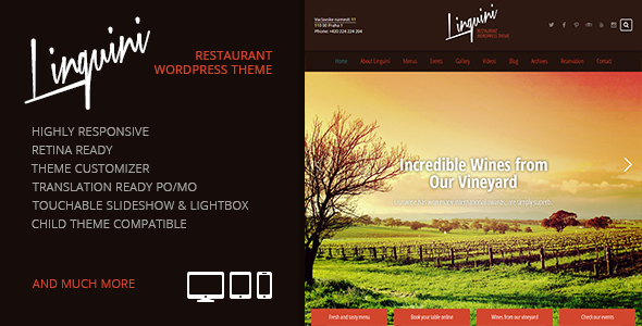 Linguini: Restaurant Responsive WordPress Theme - Restaurants & Cafes Entertainment