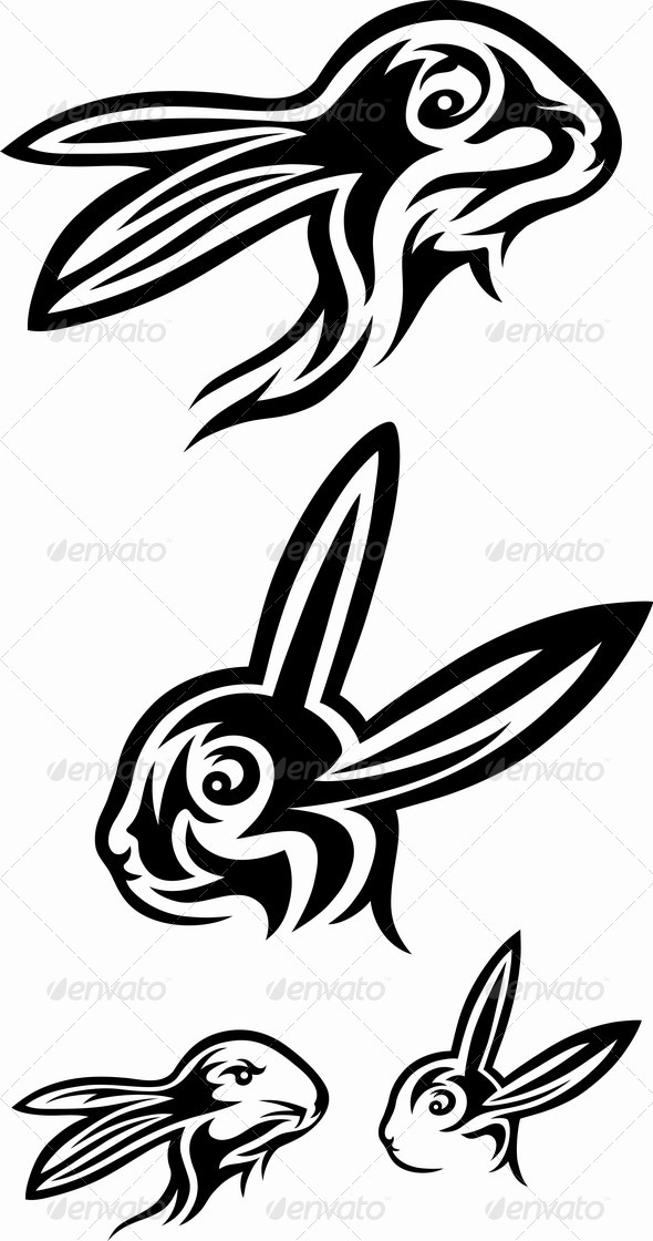 GraphicRiver Rabbit Tribal Set 7022624