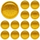 Golden Buttons Set with Patterns - GraphicRiver Item for Sale