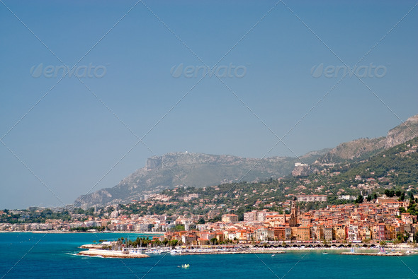 Medieval town Menton in french riviera - Stock Photo - Images