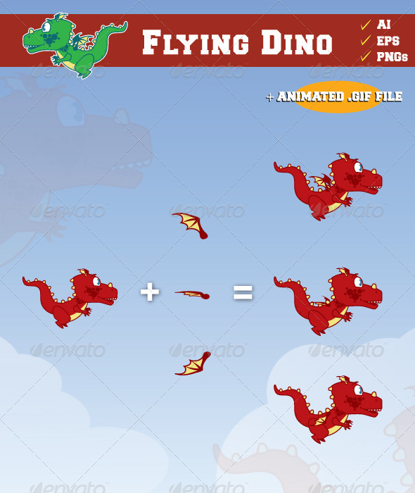 GraphicRiver Flying Dino 7024310