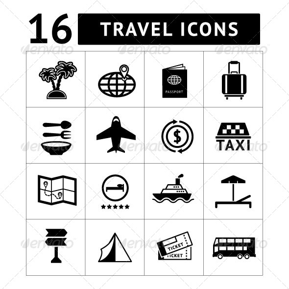 GraphicRiver Set icons of travel tourism 7026231