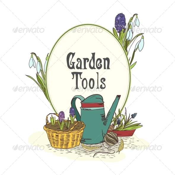 GraphicRiver Hand Drawn Gardening Tools Emblem 7027080
