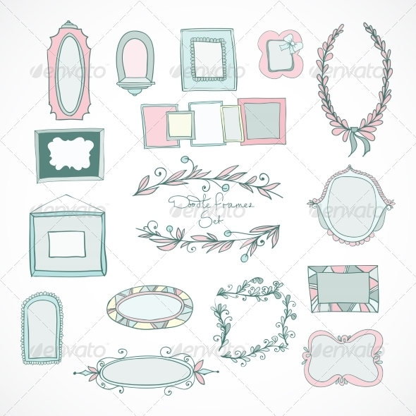 GraphicRiver Collection of Doodle Frames for Wedding 7027091