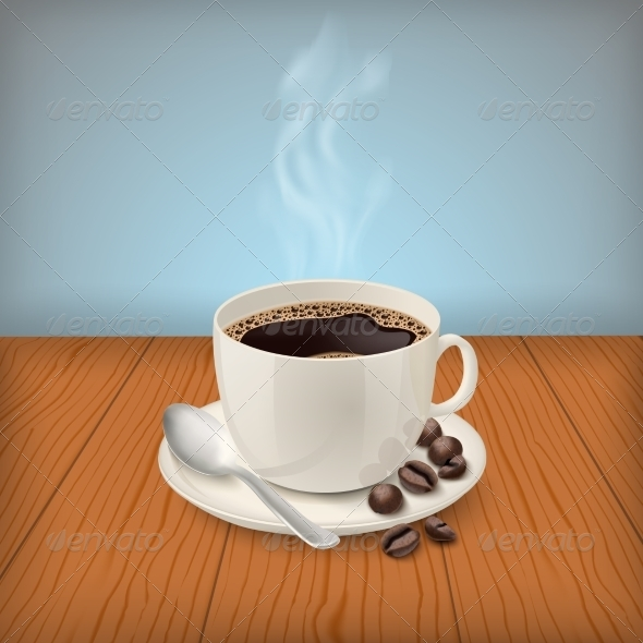 GraphicRiver Cup with Black Classic Eespresso on the Table 7027101