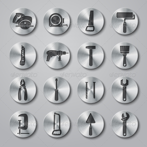 GraphicRiver Toolbox Icons Set on Metal Buttons 7027141
