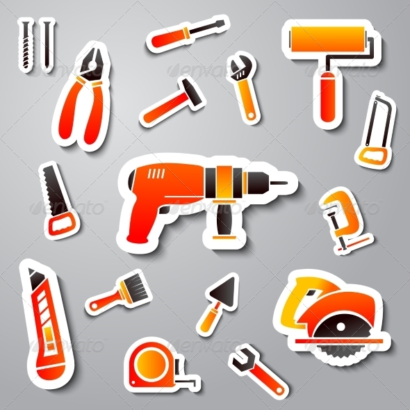 GraphicRiver Collection of Tool Stickers 7027172