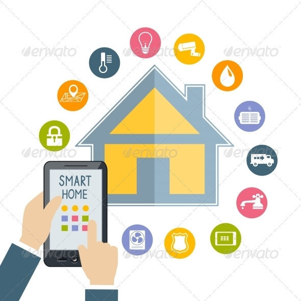 GraphicRiver Hand Holding Mobile Phone Controls Smart Home 7027726