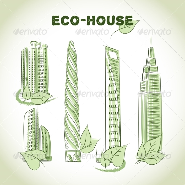 GraphicRiver Eco Green Buildings Icons 7028151