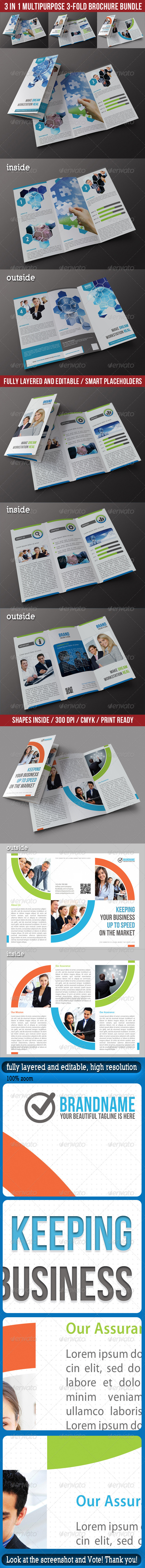 GraphicRiver 3 in 1 Corporate 3-Fold Brochure Bundle 01 7028468