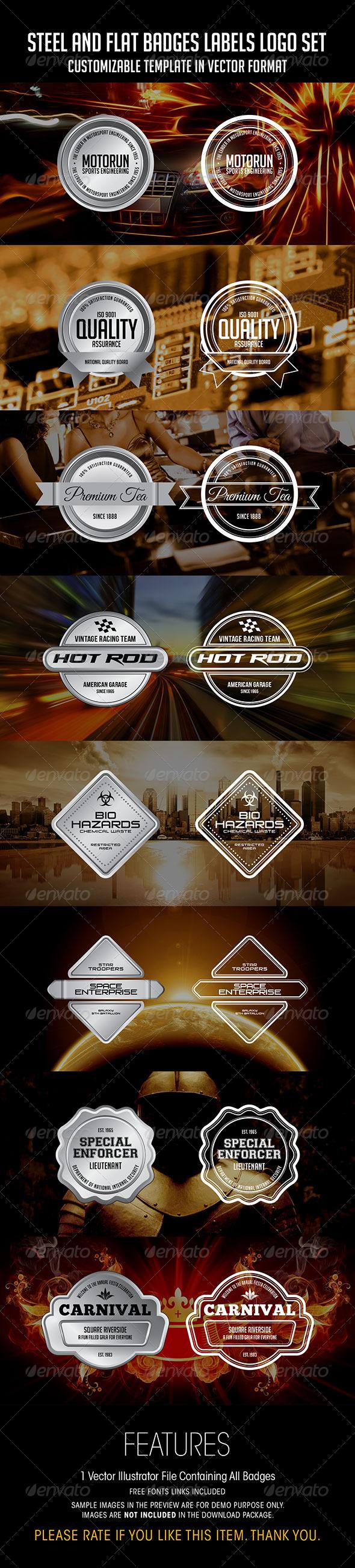 GraphicRiver Steel And Flat Badges Labels Logo Set 7028788