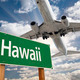 Hawaii Green Road Sign and Airplane Above with Dramatic Blue Sky and Clouds. - PhotoDune Item for Sale