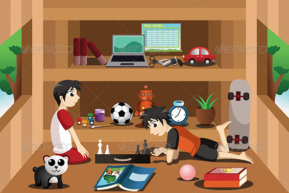 GraphicRiver Boys Playing Inside a Tree House 7029755