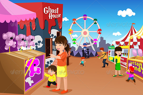 GraphicRiver Family Playing in an Amusement Park 7029795