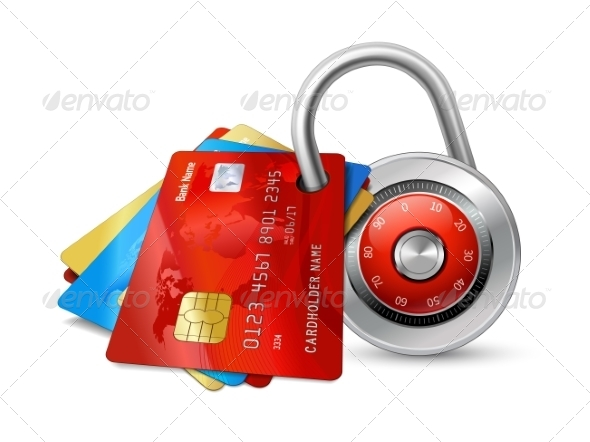 GraphicRiver Set of Secure Credit Cards with Lock 7030139