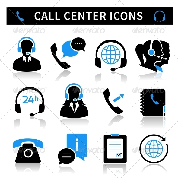 GraphicRiver Call Center Service Icons Set 7030147