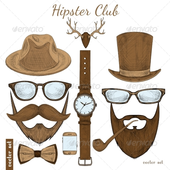 GraphicRiver Hipster Accessories 7030154