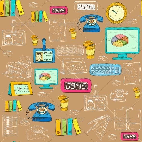 GraphicRiver Seamless Business Office Supplies Pattern 7030193