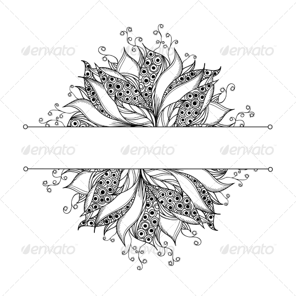 GraphicRiver Card Template with Fantasy Black and White Flower 7030205